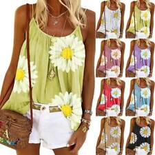 Womens Floral Strappy Tank Tops Summer Holiday Sleeveless Vest T Shirts Blouse