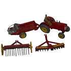 1950s Dinky Toys Massey Harris Red Tractor Plough Manure Spreader Disc Harrow