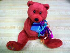 "8"" SOFT SPARKLY PLUSH RED TY HAPPY BIRTHDAY BEAR W/ GIFT PRESENT EUC MINT"