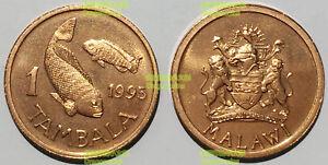 Malawi 1 Tambala 1995 non magnetic double fish 17mm bronze coin km33 UNC