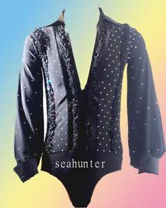 M029 hot sale Men Latin dance shirt black crystals Hawaiian S size new
