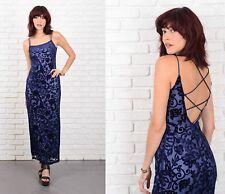 Vintage 90s Velvet Burnout Dress Vine Floral Open back party Maxi Blue XXS