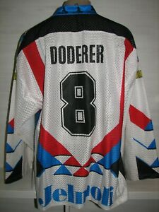 RARE #8 Peter Doderer EHC BÜLACH 1990-92 MATCH WORN BLACKY SWISS HOCKEY SIZE XL