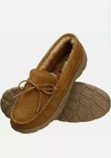 Rockport Men's Memory Foam Plush Lining Suede Slip On Moccasin Slippers, Size 9
