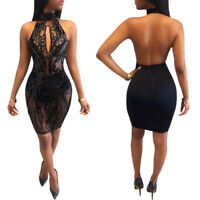 S-XL Sexy Women Halter Backless Bodycon Dress Sequin Party Club Cocktail Evening