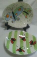 Boston Warehouse Jill Seale 2 Oval/Egg Shaped Serving Plate Butterflies Ladybug