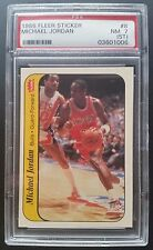1986 Fleer Michael Jordan Chicago Bulls #8 Sticker Old Label PSA 7 NM Rookie HOF