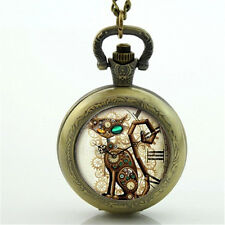 Steampunk Cat Pocket Watch Necklace Steampunk Clock Necklace Steampunk Jewelry