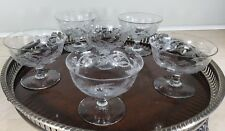 6 Central Thistle Champagne Coupe Dessert Cups Glasses Antique Vintage Etched