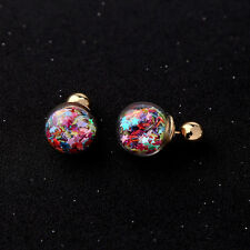 Multicolored Stars Gold Ball Front Back Tribal Closure Earrings -SHIPS FAST!