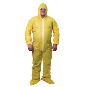 Shieldtech 55 Yellow Chemical Disposable Coverall Suit Hood & Boots, 25 / CASE