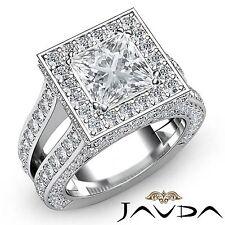 Halo Set Princess Diamond Vintage Engagement Ring GIA F VS1 18k White Gold 4ct