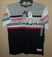 Southpole Short Sleeve Shirt Top Boys Medium 10-12 Grey Red Blue White USA New