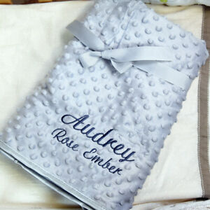 Personalised Baby Blanket Embroidered Soft Bubble Boy Girl Gift Stars Newborn