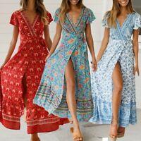 Women Female Bohemian Wrap V-Neck Floral Print Maxi Dress Holiday Beach Sundress