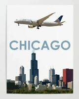 "United Airlines Boeing 787 over Chicago - 18"" x 24"" Poster"