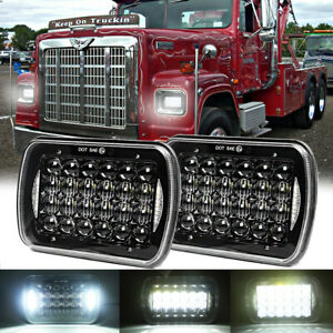Pair 5x7 7x6 LED Headlight For International 4900 7400 5600i 9400i SBA 9900i SFA