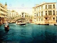 CITYSCAPE VENICE ITALY RIALTO BRIDGE CANAL BOAT ART POSTER PRINT CC7001