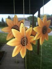 """Sunflower Ceramic Wind Chime - 39"""" With removable Topper."""
