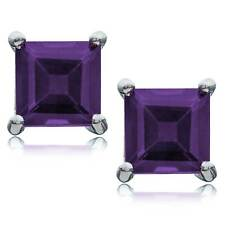 Amethyst Princess Cut Stud Earrings set in Rhodium Plated Sterling Silver 5x5mm