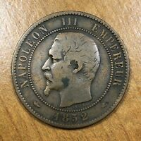 1852 A France 10 Centimes Coin, KM# 771.1, F, Better Date