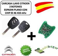 LLAVE CARCASA CITROEN C1 C2 C3 C4 XSARA SAXO MANDO 2 BOTONES CHIP ID46 433 MHZ