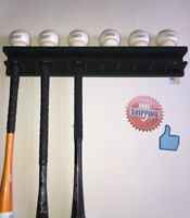 BASEBALL BAT RACK 11 BAT 6 BALLS BLACK WALL HOLDER DISPLAY Wood