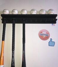 BASEBALL BAT RACK 11 BAT 6 BALLS BLACK WALL HOLDER DISPLAY Wood