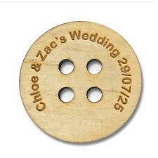Customisable Wedding Favours Table Decorations Scatter Buttons Wooden Keepsake