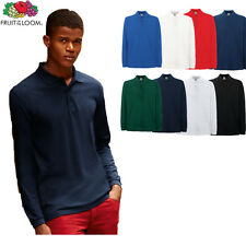 Pack of 2 FRUIT OF THE LOOM 63310 LONG SLEEVED POLO SHIRT IN 8 COLOURS