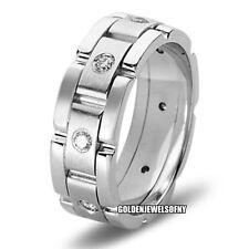 14K WHITE GOLD MENS DIAMOND WEDDING BANDS RING  7MM