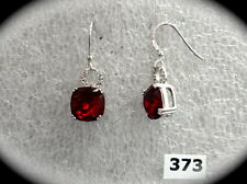 #373# Elegant Dark Red Garnet Round Gem Stone .925 Sterling Silver Hook Earring