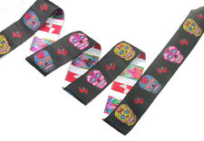 "Jacquard Ribbon 1 1/2"" Sugar Skulls Black 3 Yards"
