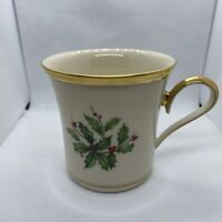 Lenox China Holiday Mug Holly Berry Gold Trim Dimension Collection  - Mint !!!