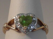 760F LADIES 9CT YELLOW & WHITE GOLD PERIDOT AND DIAMOND CLUSTER RING SIZE N