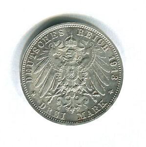 GERMANY (Saxony) - 3 Mark 1913 Silver Coin - KM#1275