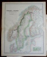 Scandinavia Sweden Norway Finland 1870 Fullarton map