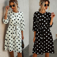 ❤️ Summer Womens 3/4 Sleeve Polka Dot Dress Ladies Casual Loose Midi Sun Dresses