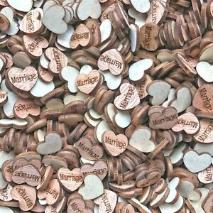 Marriage Wooden Shabby Chic Craft Scrapbook Vintage Confetti Hearts 15mm
