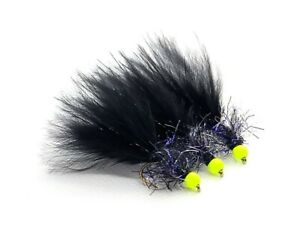 3 x Black Woolly Bugger UV Fritz Variant Trout Fly Lure Flies Fl Yellow Hothead