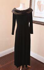 Vtg Cachet Black Velvet Faux Fur Collar Evening Dress Formal Gown Sz 10 Velour