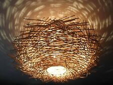 More details for unusual hand made birds nest ceiling lamp shade twisted rattan lamp shade large