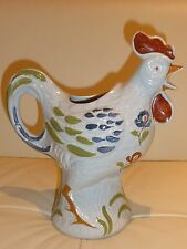 French Pottery Dutertre Desvres Rooster Pitcher - Impressive!
