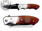 TAC FORCE Knife Pocket Fold Speedster Bolster Wood Handle Fire Department Logo