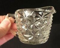 Vintage Anchor Hocking Thousand Line/Stars & Bars Pattern Clear Creamer