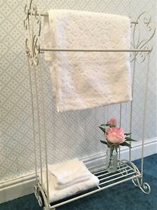 French Vintage Style Towel Rail Free Standing Rack Extra Large Shabby Chic Ivory