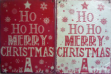 Ho Ho Ho Merry Christmas Shabby Chic Metal Hanging Decoration Sign (2 Colours)