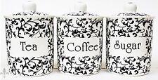 Venetian White Tea Coffee Sugar Canisters Bone China Jars Set Hand Decorated UK