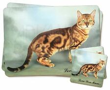 Bengal Gold Cat 'Love You Mum' Twin 2x Placemats+2x Coasters Set in , AC-89lymPC