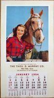 Pinup Cowgirl 1954 Poster / Advertising Calendar - Woman & Horse, 'Golden Glow'
